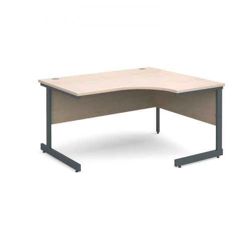 Contract 25 right hand ergonomic desk 1400mm - graphite cantilever frame and maple top