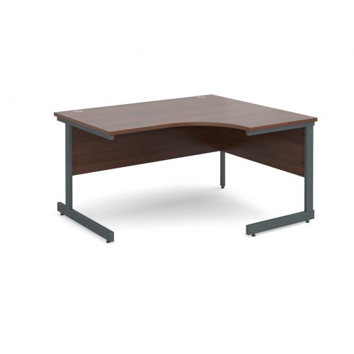 Contract 25 right hand ergonomic desk 1400mm - graphite cantilever frame and walnut top