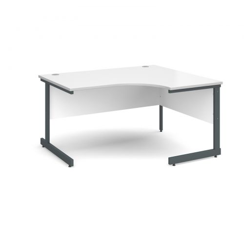 Contract 25 right hand ergonomic desk 1400mm - graphite cantilever frame and white top