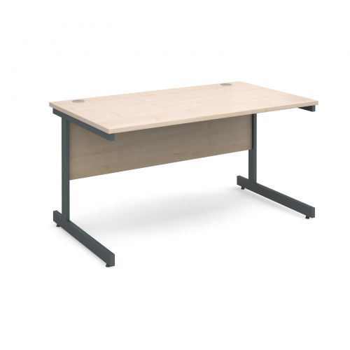 Contract 25 straight desk 1400mm x 800mm - graphite cantilever frame and maple top