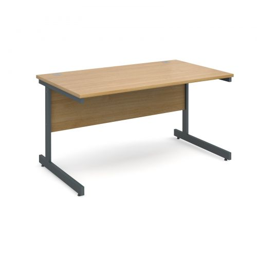 Contract 25 straight desk 1400mm x 800mm - graphite cantilever frame and oak top
