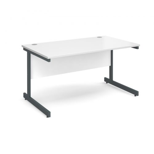 Contract 25 straight desk 1400mm x 800mm - graphite cantilever frame and white top