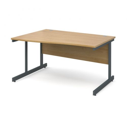 Contract 25 left hand wave desk 1400mm - graphite cantilever frame and oak top