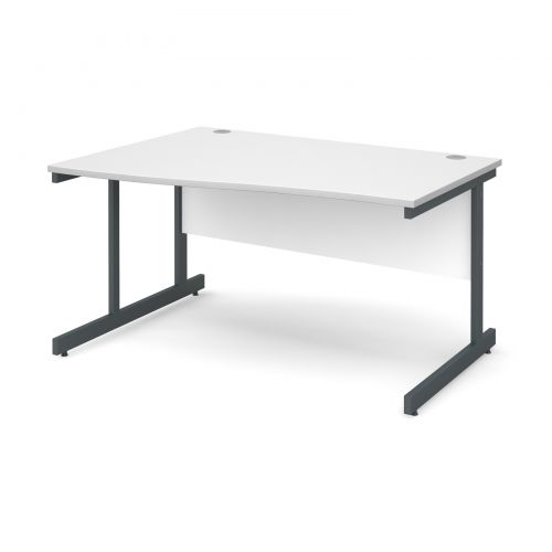 Contract 25 left hand wave desk 1400mm - graphite cantilever frame and white top