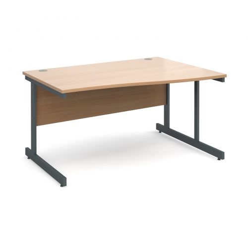 Contract 25 right hand wave desk 1400mm - graphite cantilever frame and beech top
