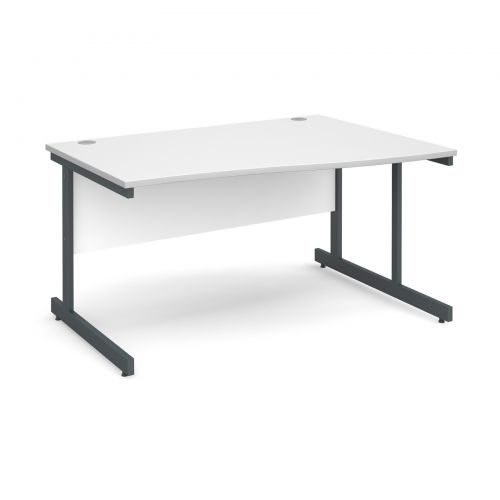 Contract 25 right hand wave desk 1400mm - graphite cantilever frame and white top