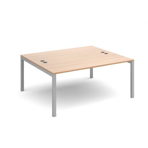 Connex back to back desks 1600mm x 1600mm - silver frame and beech top