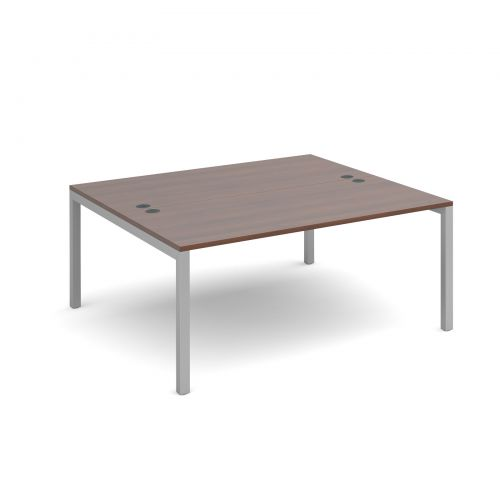 Connex back to back desks 1600mm x 1600mm - silver frame and walnut top