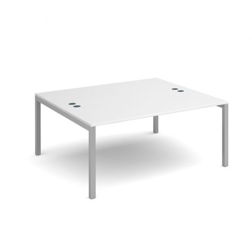 Connex back to back desks 1600mm x 1600mm - silver frame and white top