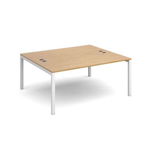Connex back to back desks 1600mm x 1600mm - white frame and oak top