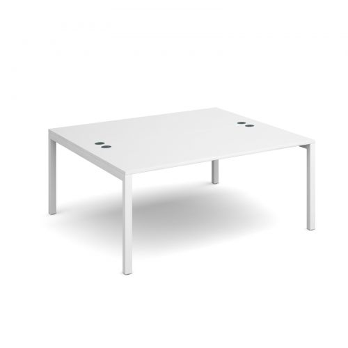 Connex back to back desks 1600mm x 1600mm - white frame and white top