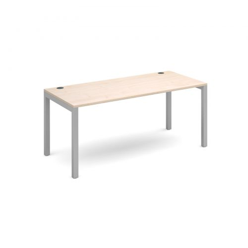 Connex single desk 1600mm x 800mm - silver frame and maple top
