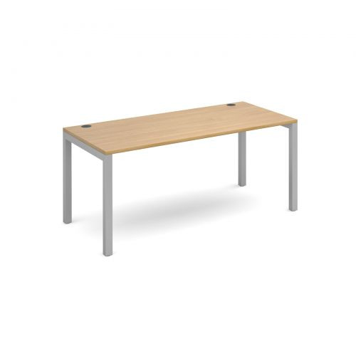 Connex single desk 1600mm x 800mm - silver frame and oak top