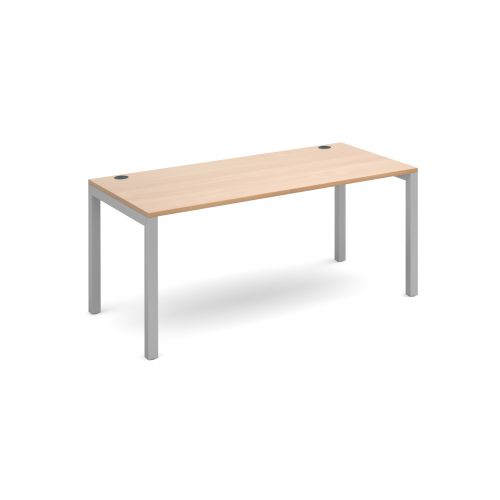 Connex starter unit single 1600mm x 800mm - silver frame and beech top