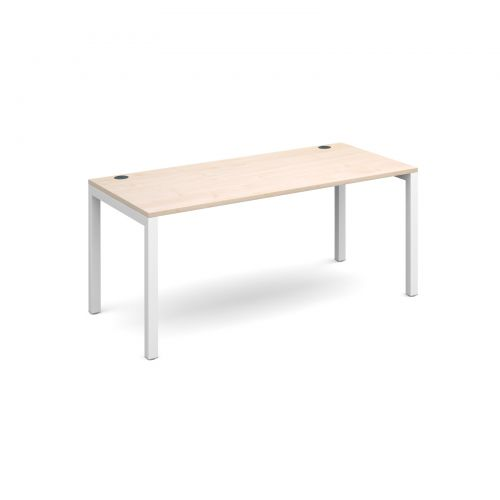 Connex starter unit single 1600mm x 800mm - white frame and maple top
