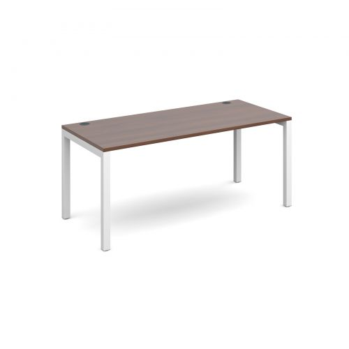 Connex starter unit single 1600mm x 800mm - white frame and walnut top