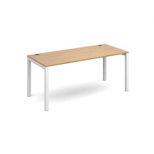 Connex single desk 1600mm x 800mm - white frame and oak top