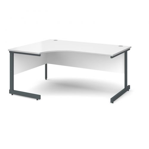 Contract 25 left hand ergonomic desk 1600mm - graphite cantilever frame and white top