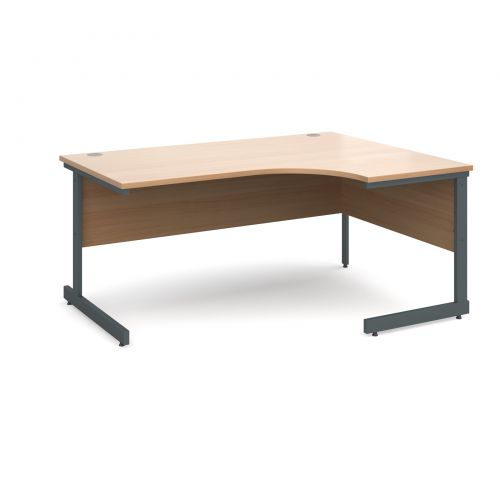 Contract 25 right hand ergonomic desk 1600mm - graphite cantilever frame and beech top