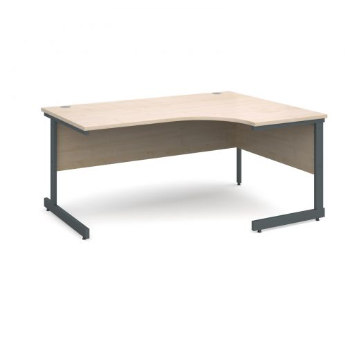 Contract 25 right hand ergonomic desk 1600mm - graphite cantilever frame and maple top