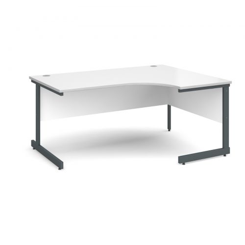 Contract 25 right hand ergonomic desk 1600mm - graphite cantilever frame and white top
