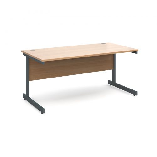 Contract 25 straight desk 1600mm x 800mm - graphite cantilever frame and beech top