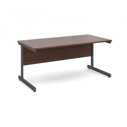 Contract 25 straight desk 1600mm x 800mm - graphite cantilever frame and walnut top