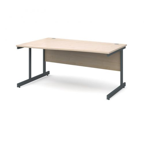 Contract 25 left hand wave desk 1600mm - graphite cantilever frame and maple top