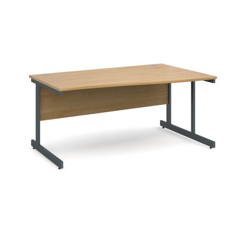 Contract 25 right hand wave desk 1600mm - graphite cantilever frame and oak top