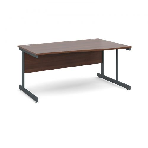 Contract 25 right hand wave desk 1600mm - graphite cantilever frame and walnut top