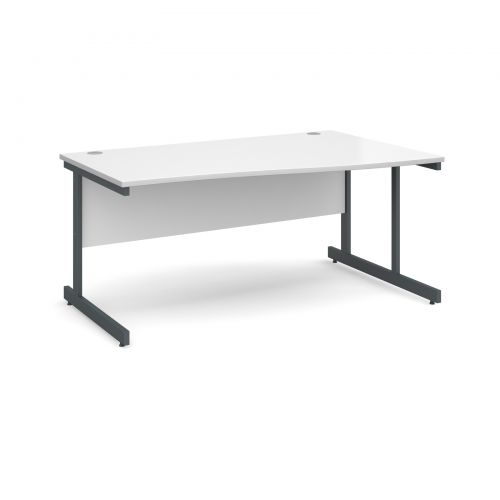 Contract 25 right hand wave desk 1600mm - graphite cantilever frame and white top