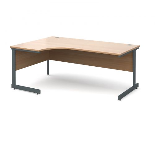 Contract 25 left hand ergonomic desk 1800mm - graphite cantilever frame and beech top