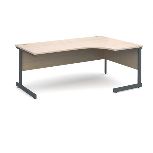 Contract 25 right hand ergonomic desk 1800mm - graphite cantilever frame and maple top