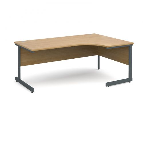 Contract 25 right hand ergonomic desk 1800mm - graphite cantilever frame and oak top