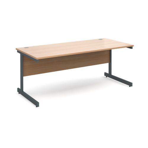 Contract 25 straight desk 1800mm x 800mm - graphite cantilever frame and beech top