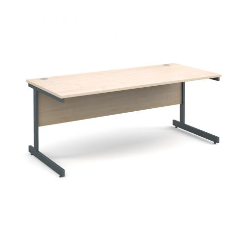 Contract 25 straight desk 1800mm x 800mm - graphite cantilever frame and maple top