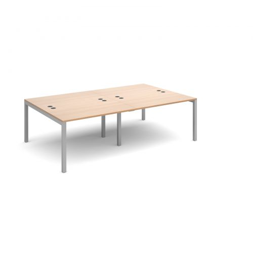 Connex double back to back desks 2400mm x 1600mm - silver frame and beech top