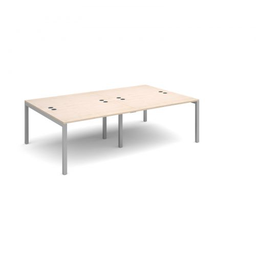 Connex double back to back desks 2400mm x 1600mm - silver frame and maple top