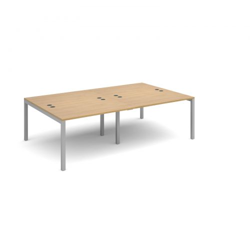 Image for Connex double back to back desks 2400mm x 1600mm - silver frame and oak top