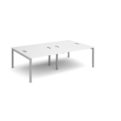 Connex double back to back desks 2400mm x 1600mm - silver frame, white top