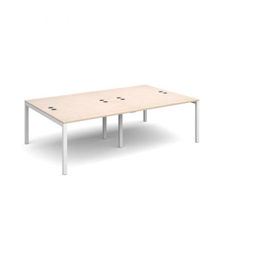 Connex double back to back desks 2400mm x 1600mm - white frame and maple top
