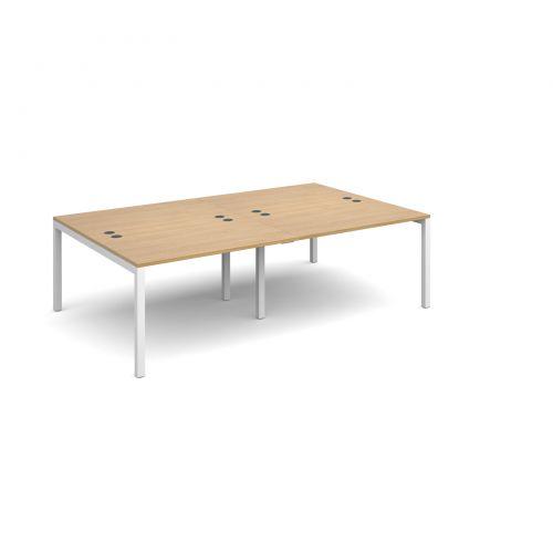 Connex double back to back desks 2400mm x 1600mm - white frame, oak top