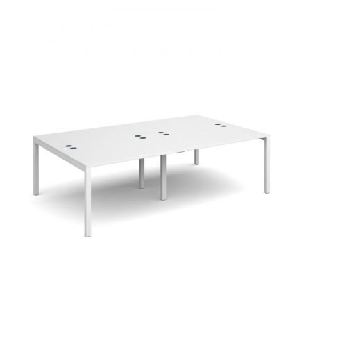 Connex double back to back desks 2400mm x 1600mm - white frame and white top
