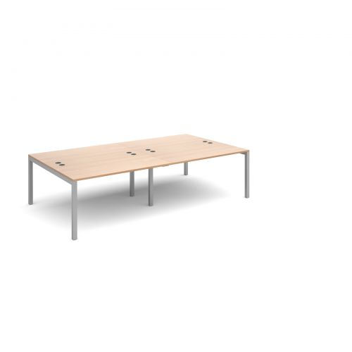 Connex double back to back desks 2800mm x 1600mm - silver frame and beech top