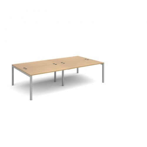 Connex double back to back desks 2800mm x 1600mm - silver frame and oak top