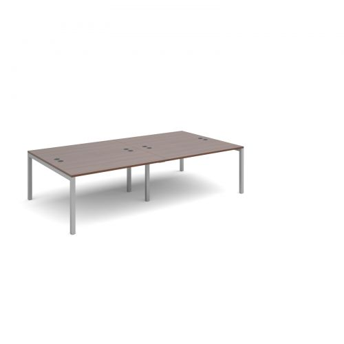 Connex double back to back desks 2800mm x 1600mm - silver frame and walnut top