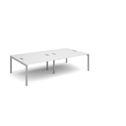 Connex double back to back desks 2800mm x 1600mm - silver frame and white top