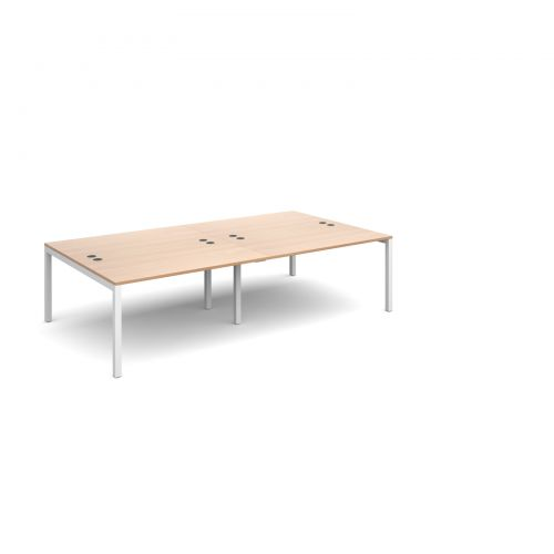 Connex double back to back desks 2800mm x 1600mm - white frame, beech top