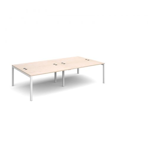 Connex double back to back desks 2800mm x 1600mm - white frame and maple top