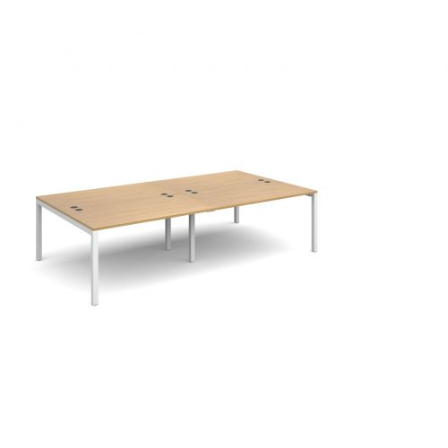 Connex double back to back desks 2800mm x 1600mm - white frame and oak top